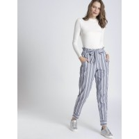 Chemistry Women Navy & White Regular Fit Striped Cigarette Trousers 2476254 GNKQYFO