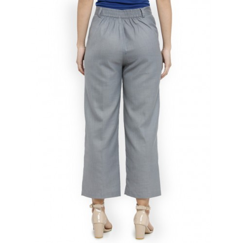Indibelle Women Grey Melange Classic Regular Fit Solid Formal Trousers 2863262 OFLXTNR