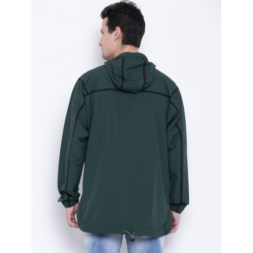 Adidas Originals Men Green Taped ANORAK Solid Hooded Sporty Jacket 2085720 JKLXKXF