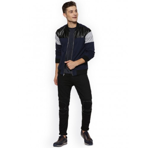 Campus Sutra Men Blue & Black Colourblocked Bomber Jacket 6996820 JHFMCDN