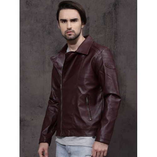 RDSTR Men Burgundy Solid Biker Jacket 1929739 TZPHAEK