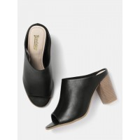 Roadster Women Black Solid Mules 3077483 EBZCJVA